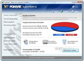 SuperRam увеличивает быстродействие компьютер за счет освобождения